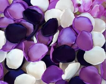 Purple Violet Eggplant & White Handmade Satin Rose Petals Wedding Decoration Flower Girls Table Topper Party Decoration Aisle Scatter Rustic