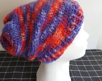 Slouchy Beanie Crochet Rainbow