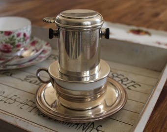 Antique Coffee Cup & Filter Silver Plated Dubelloire