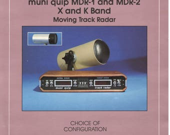 Vintage 1980s muni quip MDR-1 and MDR-2 X and K-Band Police Speed Radars-Data Sheet