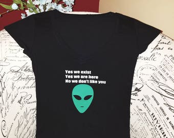 Green Alien on Black V Neck Stretchy T-shirt Top Silver Lettering Cute Alien Stretch Tee Aliens Exist