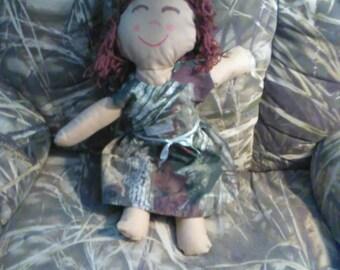 Hand made doll with camo dress