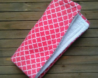Pink Lattice Burpie | Burp Cloth | Baby Blanket | One Piece | About 20in × 20in