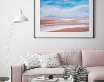 Pink Lagoon Print // Incredible Landscape //  photography print // travel photography bolivia // beautiful landscape //