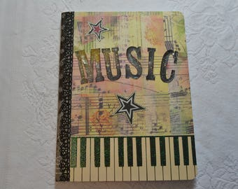 "Altered Composition Book - Music Lover, full size (7.5"" x 9.75"")"