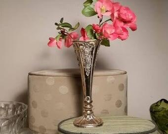 Vintage Silverplate Porcelain Vase, Bud Vase, Japan