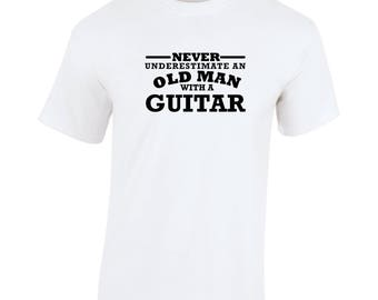 Guitar Never Underestimate An Old Man Birthday Gift Fathers Day Softspun white t shirt