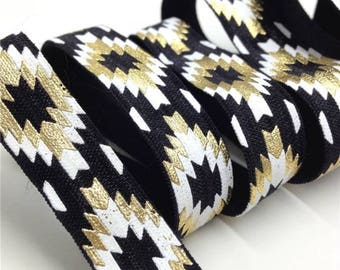 Elastic Ribbon by the meter, stylized ethnic-geometric pattern - Aztec 1.5 cm wide