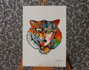 Tiger Woman - neo traditional tattoo art flash print