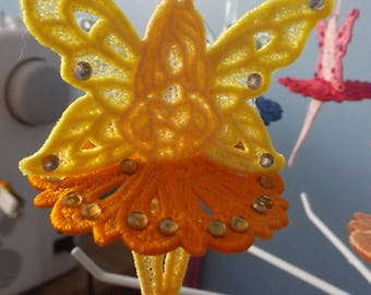 Embroidered Lace Fairy Lemon Orange