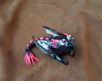 Black and Pink Polymer Clay Dragon