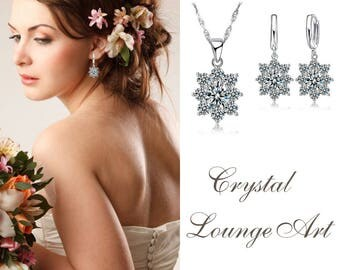 Crystal Bridal Zircon Set. Bridesmaids Jewelry Set, Crystal Necklace and Earrings, Wedding Jewellery