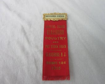 1915 Annual Show Glassboro Poultry and Pet Stock Assn Glassboro N J Prize Ribbon