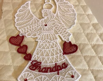 Grandpa Lace Angel Ornament