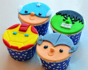 Superhero Emblems or Faces, Marvel and DC Comics Fondant Cupcake Toppers