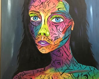 Abstract portrait painting modern art