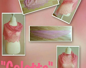 Handknit lace cloth, Colette, shawl, scarf, shawl, scarf, 100% silk, pink, Colette