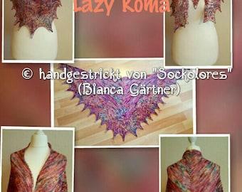 Handknit lace cloth, lazy Roma, scarf, shawl, 100% Merino