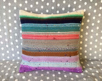 kilim pillow cover, handmade vintage cushion, rug pillow, vintage pillow, throw pillow, kilim cushion cover, modern throw pillows - TV0003
