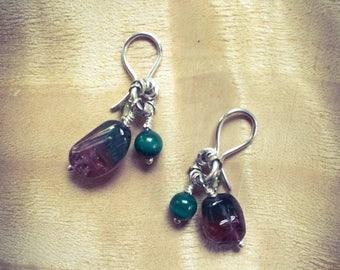 Tourmaline, Malachite & Peridot Drop Hook Earrings