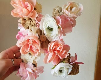 Flower and burlap letters
