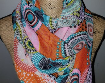 Lavello chiffon colorful infinity scarf with circle design