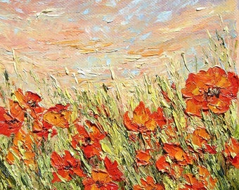 "Poppy painting original oil painting  6""x6"" canvas impressionism palette knife wild flowers field painting textured modern"