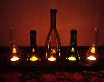 Wine bottle candle Holders Hurricane Lamps Lanterns Set of 5 hand made rustic