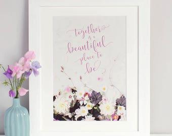 Romantic Floral Typographic Print