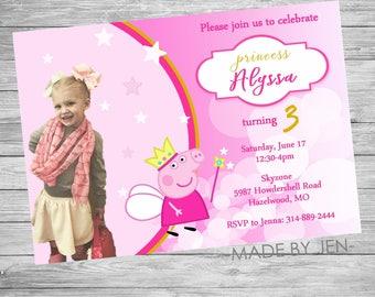 Peppa Pig Birthday Invitation, Birthday Party, Pink, DIGITAL FILE CUSTOM 5x7