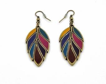 Hanging earrings, earrings, earrings, antique, gold leaf earrings multi colored, bronze earrings, hangemachter jewelry.
