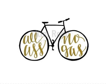 Hand Painted All Ass No Gas Bicycle Print; Wall Art and Decor