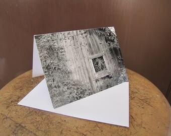 Vintage Look Card Old Barn Photo Fine Art Photography Canada Rustic Photo Card Notecard Blank Greeting Card Black & White Photography Card