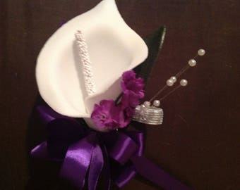 Ready to Ship Off White and Purple silk flower wrist corsage