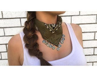 Olive Bandana Necklace