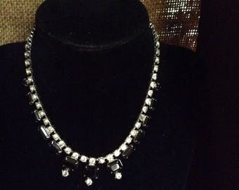 Black Stone and CZ gem necklace