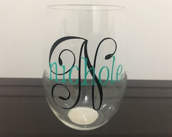 Stemless wine glasses-personalized wine glass-Initial Glass-Girlfriend gift-Birthday Gift-Wedding Party Gift