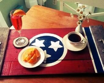 Tennessee Flag Tray , Breakfast Tray ,  reclaimed wood , Tea Tray , Nashville,TN , hand painted