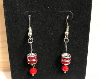 Red crystal and bead earrings