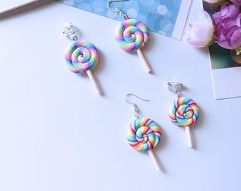 Rainbow Swirl Lollipop Earrings - Handmade Polymer Clay Mini Food Dessert Candy Jewelry