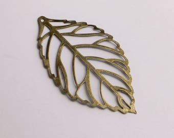 Antiqued Bronze Leaf Charms 54 x 30mm