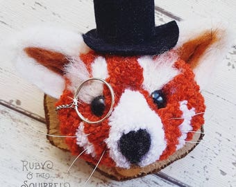 ON SALE Tarquin the red panda wall plaque faux taxidermy Wall art