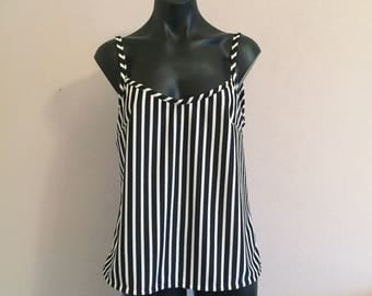 Striped singlet. Black and white top. Striped top. Summer singlet. Handmade singlet. Beach top. Stripes.