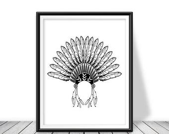 Headdress, Native American headdress, Headdress art, Native American, Feather illustration , Headdress print, Native American wall decor