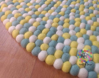 Felt Ball Rugs /Yellow Mint and White Nursery Rug (Free Shipping)