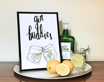 A4 Gin print - Gin buddies