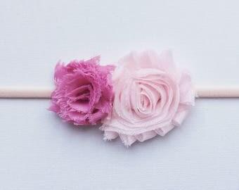 Pink flowers baby headband