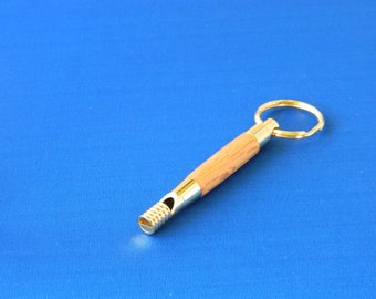 exotic hardwood whistle keychain
