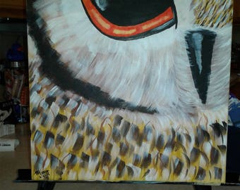 Brown and Gold Owl Face Acrylic Painting on Gallery Canvase