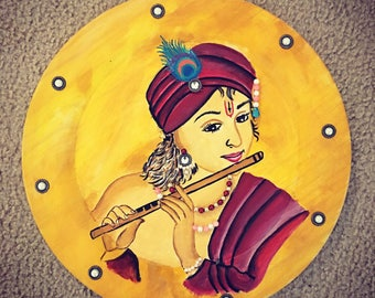 Krishna wood painting